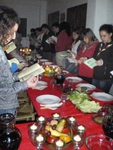 Celebración de la cena según el rito de la Pascua judía.
